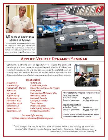Applied Vehicle Dynamics Seminars - Professionals