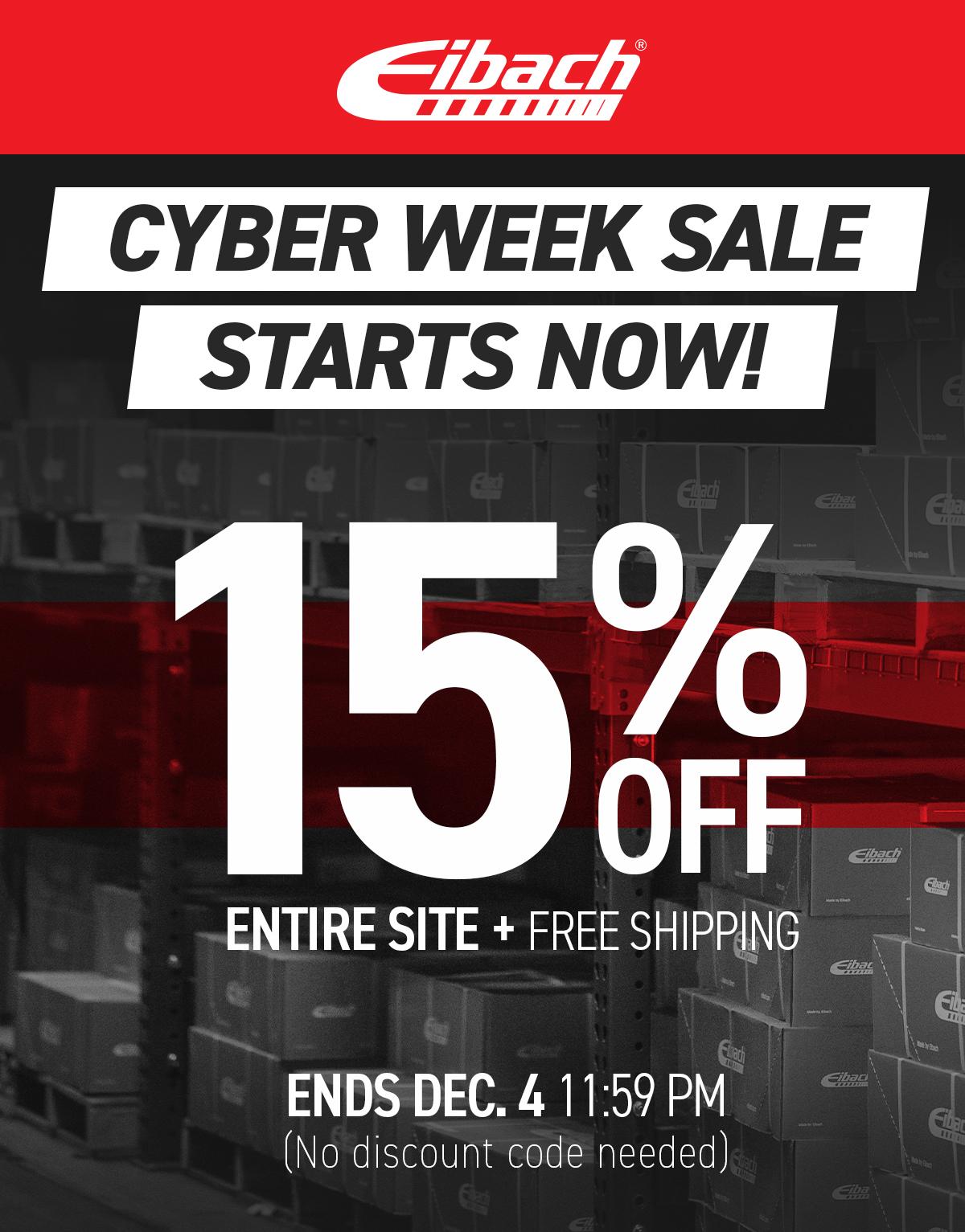 15% OFF CYBER-WEEK SALE