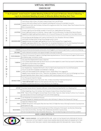 Virtual Meeting Check List