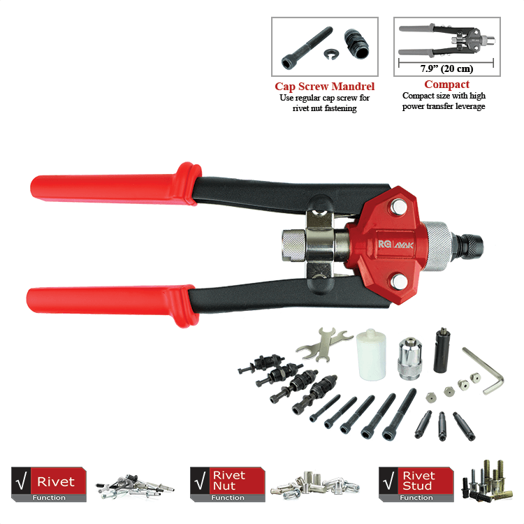 MaxDuty Compact Trio - Rivet, Rivet nut and Rivet Stud tool