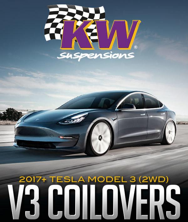 KW Suspensions V3 Coilover Kit: 2017+ Tesla Model 3 (2WD)