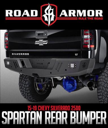 Road Armor Spartan Rear Bumper: 2015–2019 Chevy Silverado
