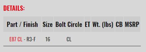 "E87 CL 16"" DIAMETER 3-PIECE RACING WHEELS"