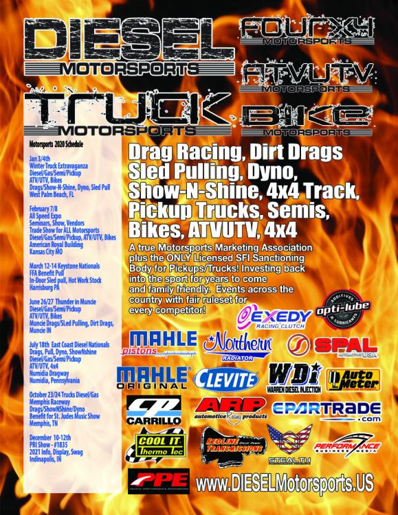2020 Schedule DIESEL/TRUCK Motorsports