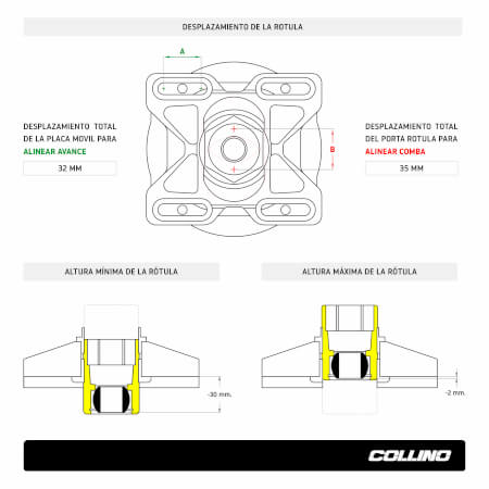 Height regulable camber-caster plates